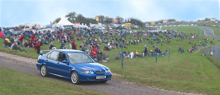 Around 50 MGs were allowed 3 parade laps at the BTCC/CSMA event at Donington Park in 2002 in front of 15,000 spectators.