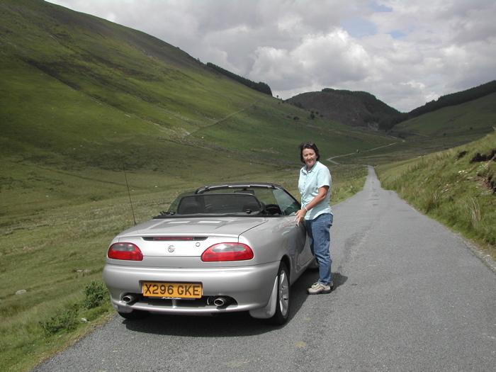 MG motoring in Snowdonia, over the Bwich y Groes pass, the highest in Wales. A break at Caernarfon Castle.