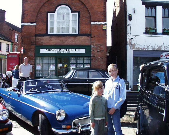 """This is my MG""""B"""" Roadster and my Kids at Atherstone,Warwickshire Annual Classic car show."""
