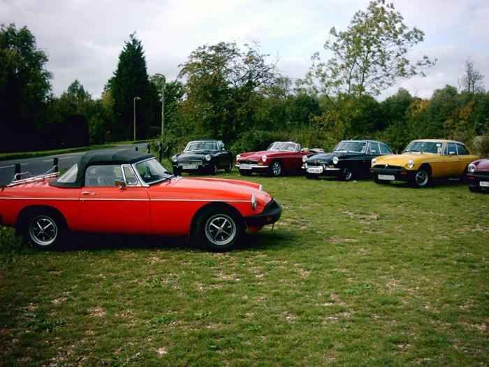 Cars of BBS members outside the Golden Ball at lunchtime.