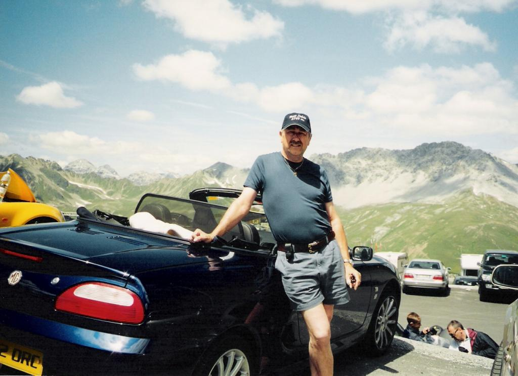 At the top of the Stelvio Pass, 2nd highest in Europe, en route between Modena and Freiburg (the long way round!)