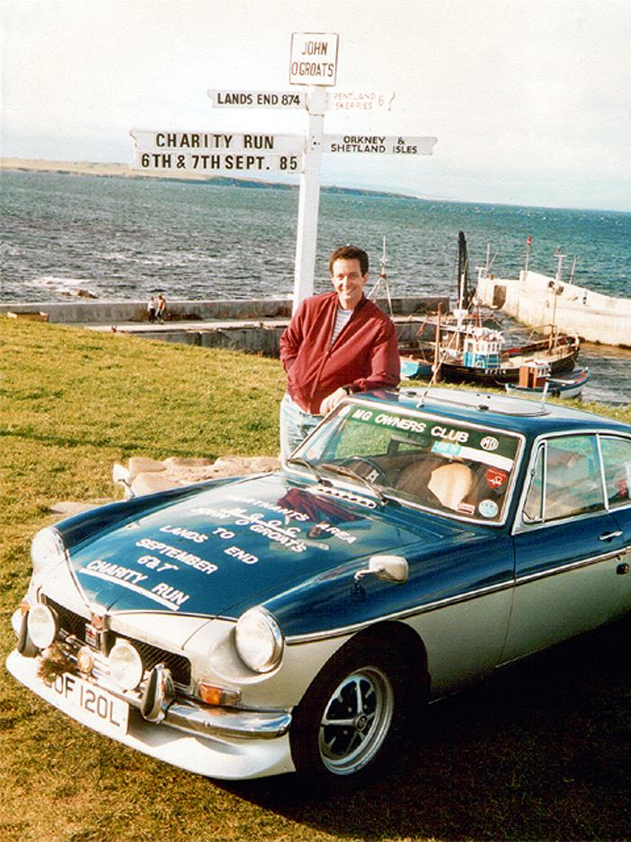 My MGB GT pictured at John O'Groats before the 24 hour trip to Land's End