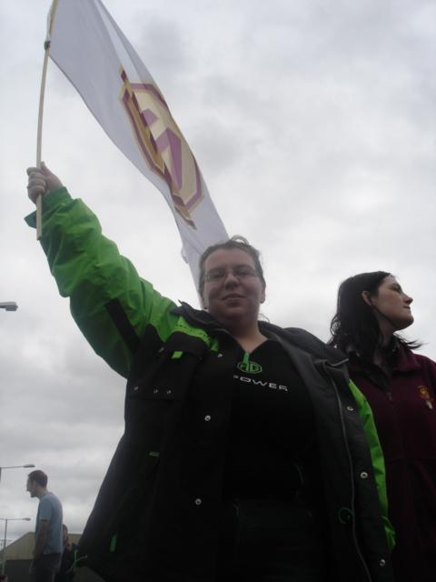 Christine outside Q gate on Monday, April 11th