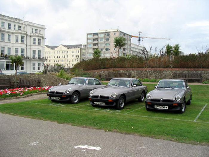 Three GT LEs together parked up in Eastbourne at the end of the Southdowns Run in 2004