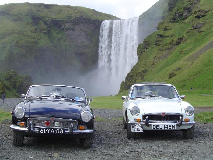 Two B's on the MGOC Iceland trip at Skogarfoss