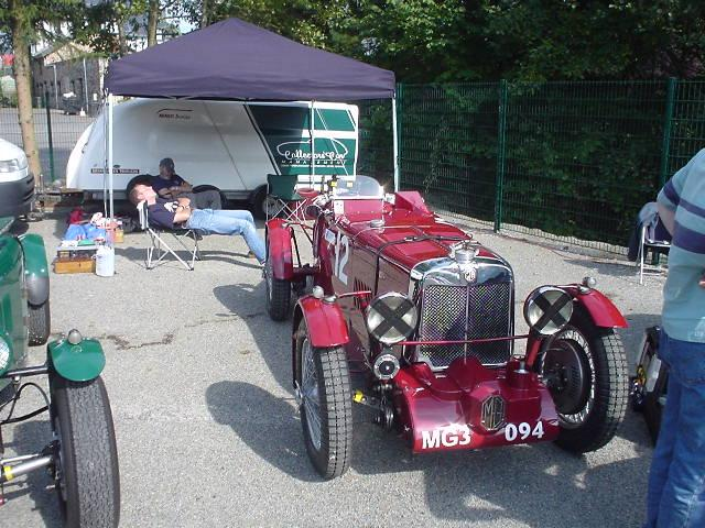 """This shows how hard work it is to drive a pre war MG - taken after practice at the """"Spa Six Hours"""" races in Francorchamps (September 23, 2005)"""