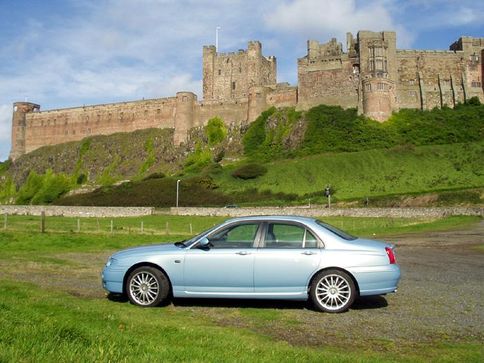 This is my 2004 MG ZT 260SE V8 at Bamburgh, Northumberland in September 2005