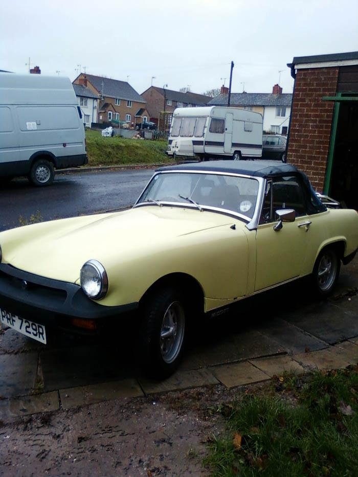 I 1st saw an MG Midget when I was nine, Twenty Six  long years later I got one and it was worth waiting for.It is in lovely condition and in a colour I'd never seen before.I wasn't sure I liked the colour at first but has grown on me so much I wouldn't change it now. I'm in love I think.