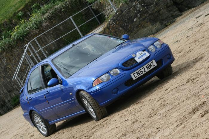 Our New MG ZS parked on Porth beach near Newquay in Cornwall