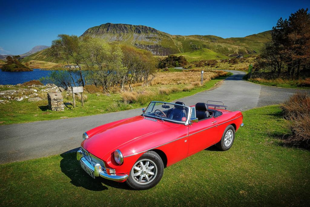 My MGB with Cader Idris in the background